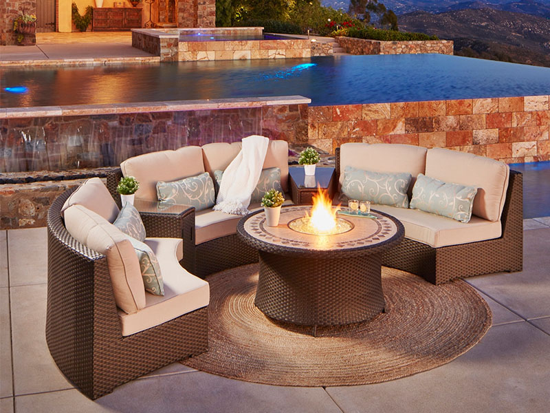 Sectional Wicker Gas Fire Pit